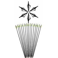 6pcs Archery Fiberglass Arrows Practice Screw-in Tips Target Hunting Broadheads