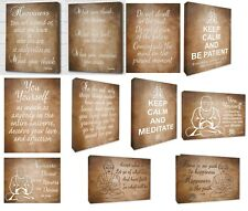 Buddha Inspirational Brown Wall Canvas Picture Quotes