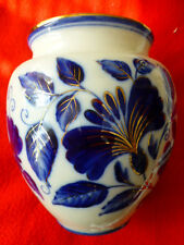 Antique Russian translucent porcelain Vase H 18 cm USSR White Blue