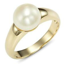 Natural Real 8mm White Pearl 9ct 9k Solid Gold Ring