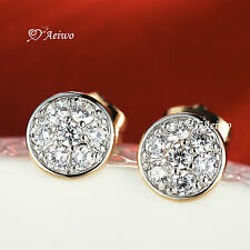 18K WHITE YELLOW GOLD GF CLEAR CRYSTAL HALF BALL ROUND STUD EARRINGS
