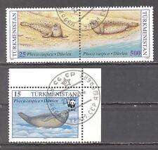 Turkmenistan, 1993, Seehunde, Robben, 2 Briefm. (Paar), gest./ungebr.