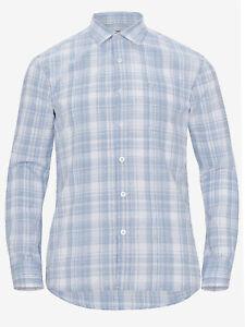 Mens Big & Tall Blue Linen Blend Checked Shirt Size 4XL-6XL MSSep29-3