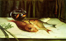 Beautiful art Oil painting still life fish with goldfish on table free shipping