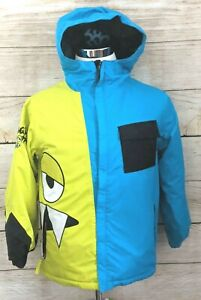 Snaggletooth 686 Youth L Snowboard Winter Ski Jacket Blue Yellow Thermal Rated 8