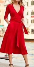 Sosandar Red Faux Wrap Belted Dress Size 8 NWT