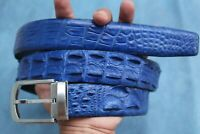 Bright Blue Genuine Alligator, CROCODILE Leather Skin Men's Belt