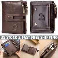 Retro Men Wallet Genuine Leather RFID Bifold with Zipper Coin Pocket Purse Brown