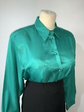 "Shiny Satin Secretary Blouse Size 18 48"" Chest CD TV Mistress Green Vintage C&A"