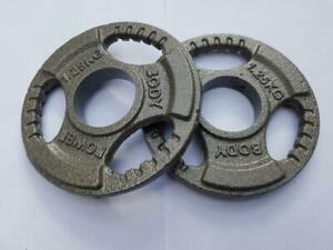 """NEW Pair 1.25kg Olympic 2"""" Tri Grip Fractional Cast Iron Barbell Weight Plates"""