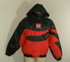 Men's Vintage NEBRASKA CORNHUSKERS Zip up HOODED Jacket Coat Large
