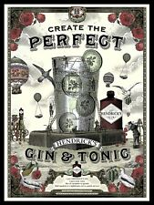 Hendrick's Gin And Tonic, Retro metal Sign/Plaque Wall vintage / Bar Gift