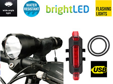 USB rechargeable FRONT & REAR LED bike lights set for mountain road bike bicycle