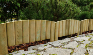 Large Small Outdoor Lawn Wooden Log Edging Garden Border Fence Roll Treated