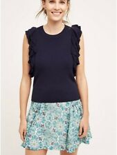 Anthropologie KNITTED KNOTTED M Sweater CONSTANCE Pullover Vest Ruffles Navy NWT