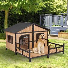 PawHut Wood Raised Outdoor Patio Waterproof Insulated Log Cabin Style Pet Dog