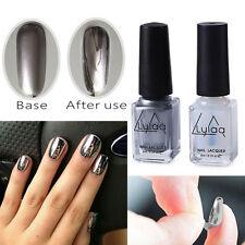 2PCS 6ml Chrome Varnish Metal Mirror Silver Effect Nail Art Polish & Base Coat