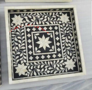 Bone Inlay Handmade Antique Wooden Indian Vintage Floral Square Serving Tray