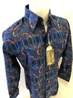 Mens MANZINI Button Down Dress Shirt BLUE SILVER DESIGNER PAISLEY FRENCH CUFF 77