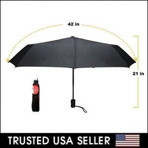"""Small Compact Tote Telescopic 42"""" Umbrellas Travel Purse Folding Rain Black NEW"""