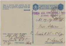 FRANCHIGIA WW2 FRASE MUSSOLINI FASCIO VUOTO 27/2/1943 X L'AQUILA