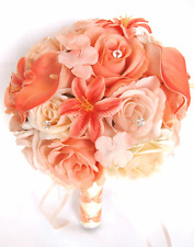 17 piece package Wedding Bouquets Bridal Silk Flowers CORAL Calla LILY PEACH