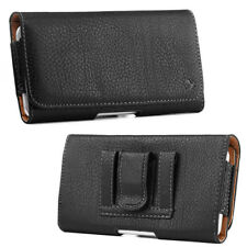 Black Genuine Leather Case Clip Luxmo Horizontal Pouch for HTC BOLT