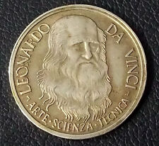 ITALY ANTIQUE LEONARD DA VINCI -ART -SCIENCE -TECNIC- SILVER MEDAL RARE & SCARCE