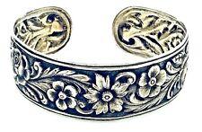 Antique Vintage Art Deco 925 Cast Sterling Silver FLORAL Flower Cuff Bracelet
