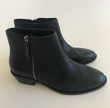 $228 NEW Jcrew Women's 9.5 Frankie Tumbled Leather Ankle Boots Black Shoes E0774