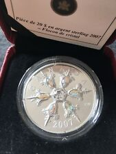 **2007**RCM, Iridescent, Crystal Snowflake, Proof Silver $20 Dollar Coin