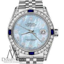 Rolex 26mm Datejust Baby Blue MOP Roman Numeral Dial Sapphire & Diamond