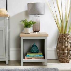 Grey Oak Top Lamp Side Table Shelf Storage Occasional End Table Two Tone Avon