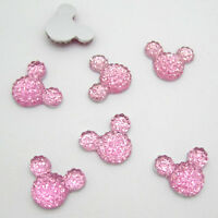 New 40pcs 14MM Resin Mouse Flat back Scrapbooking For DIY craft making Pink #2
