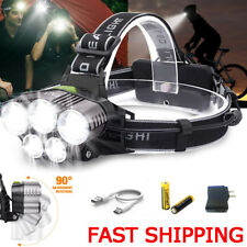 90000LM LED Headlamp 5 T6 USB Head Torch Headlight Flashlight Rechargeable 18650