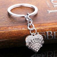 Believe Rhinestone Crystal Heart Pendant Keyrings Keychain Key Chain Family Hot