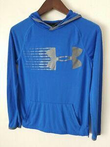 UNDER ARMOUR Loose Boys BLUE Logo HOODIE Heatgear Sweatshirt size YLG