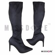 NEW BLACK THIGH HIGH KNEE BOOTS WOMENS STILETTO ELASTICATED POINTED PULL ON LONG