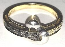 14k Solid Ring Vintage Heart W Y Gold manmad Black Clear diamond Size 7.5 56789