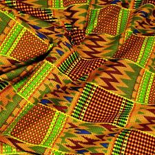 African Kente Print Cloth, Wax Dyed Green Red Blue Yellow, Cotton Fabric, BTY