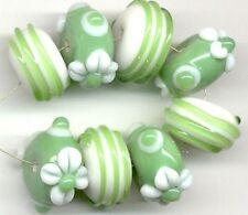 8pcs Lampwork Glass Beads Handmade Opaque Green White Flower Rondelle Spacer