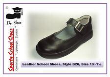 School Shoes Dr.Shoe Black Genuine Leather Girls Buckle Kids Junior Sz 13-1.5