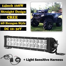 14inch 168W CREE LED Light Bar Offroad Fit For POLARIS SPORTSMAN RZR XP1K RZR900