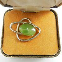 Vintage Krementz Jade 14k Gold Overlay Men's Tie Tack Lapel Pin clip