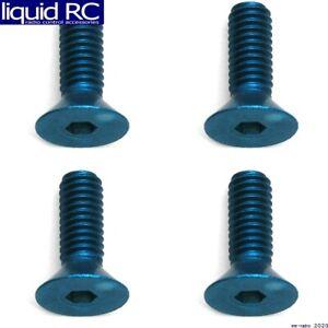 Associated 8570 M4x12mm Blue Aluminum FHCS Flat Head Cap Screws (4)