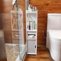 Armoire de salle de bains en bois blanc Meuble de rangement Commode avec étagère