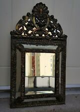 More details for 19th century french repousse cushion mirror  59 x 33 x 5cm  antique