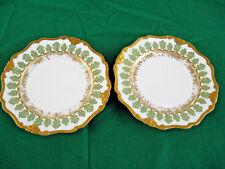 """2 Elite Works Limoges France 8 3/4"""" Salad/Dessert Plates Thick Gold Leaf"""