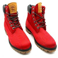 "TIMBERLAND V65 6"" PREMIUM RED LEATHER BOOT A27RA A3840 MEN'S Size 8 New"