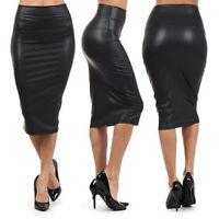 Women PU Leather High Waist Knee Length Straight Package Pencil Skirt Dress Cl